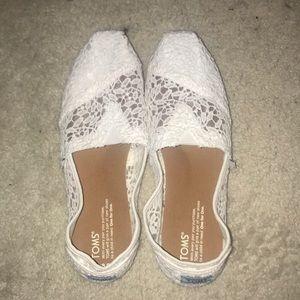 White Crochet Toms